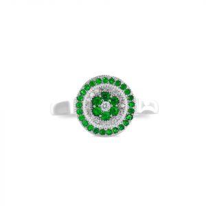 Anillo Brilho Silver de plata circular con microcircones verdes