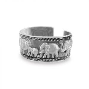 Aro Brilho de plata grueso envejecido con elefantes