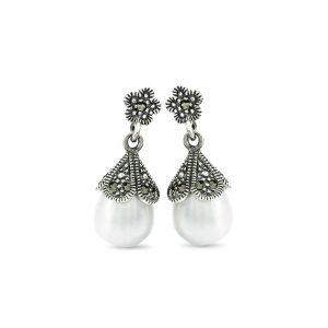 Arete Brilho Silver de plata marquesita con perla