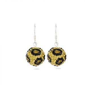 Arete Brilho Silver de plata con gancho y bola de fuego color negro y dorado