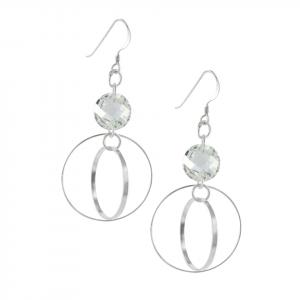Arete Brilho Silver de plata con gancho y circón blanco