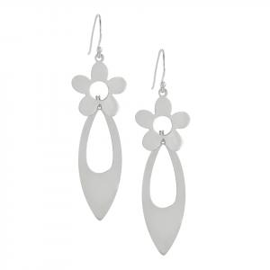 Arete Brilho Silver de plata flor y gota