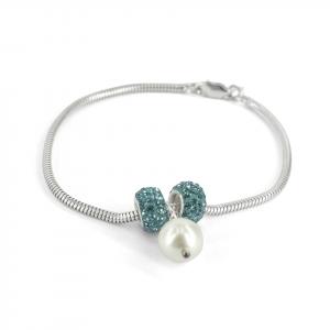 Pulsera Brilho Silver de plata con bola de fuego y perla