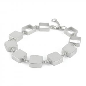 Pulsera Brilho Silver de plata con apliques cuadrados