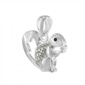 Dije Brilho Silver de plata ardilla con microcircones blancos