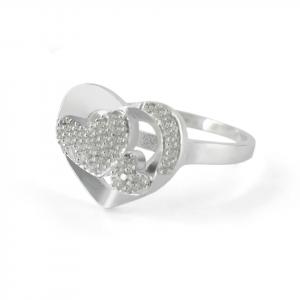 Anillo Brilho Silver de plata corazón con microcircones