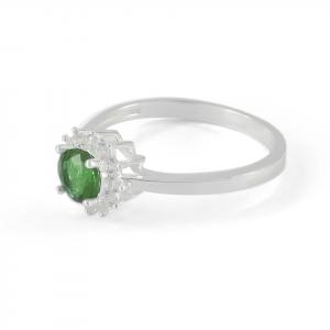 Anillo Brilho Silver de plata con circón verde