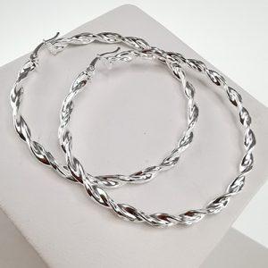 Aros de plata Brilho Silver con diseño y broche italiano