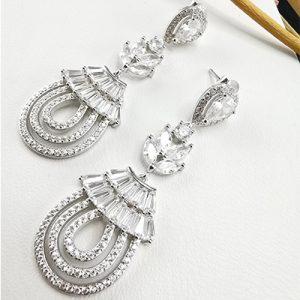Aros de plata 925 Brilho silver rodinado con microcircones