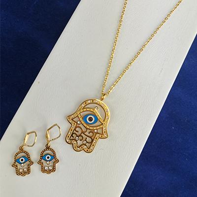 Conjunto de acero quirúrgico 316 con circones y ojo turco enchapado dorado