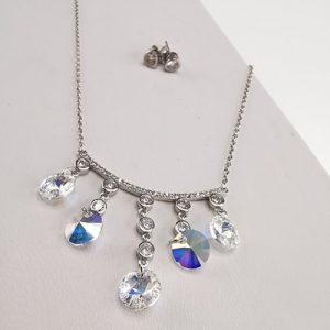 Conjunto de plata 925 Brilho Silver robinado con piedras de microcircón y cristal Swarovski