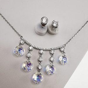 Conjunto de plata 925 Brilho Silver rodinado con piedras de microcircón y cristal Swarovski