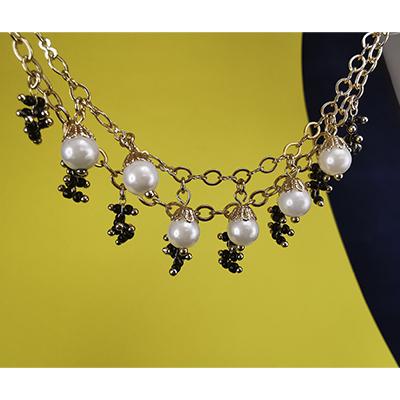 Pulsera de acero quirúrgico 316 Brilho Steel con perlas sintéticas
