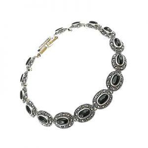 Pulsera de plata 925 Brilho Silver con piedras naturales onix y marquesita
