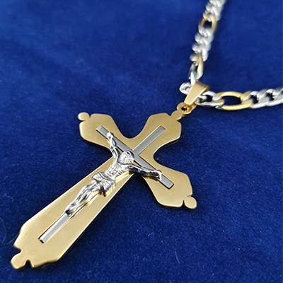 Set para hombre cadena y colgante de acero quirúrgico 316 Brilho Steel con enchapado dorado